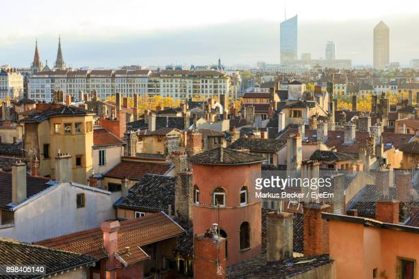 high angle view of cityscape - lyon photos et images de collection