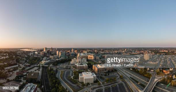 high angle view of cityscape - providence rhode island stock photos and pictures
