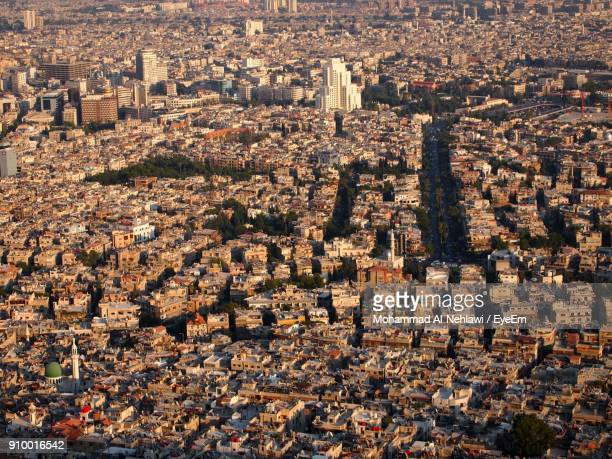 high angle view of cityscape - damascus stock pictures, royalty-free photos & images