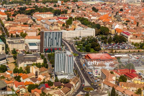high angle view of cityscape - sibiu stock photos and pictures
