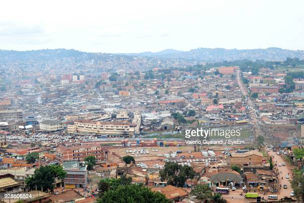 high angle view of cityscape - kampala stock-fotos und bilder