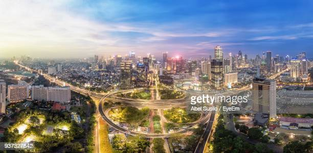 high angle view of cityscape - jakarta stock pictures, royalty-free photos & images