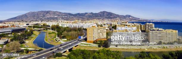 high angle view of cityscape - fuengirola stock photos and pictures