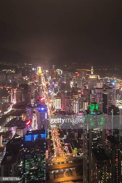 High Angle View of Cityscape Shenzhen at Night, China