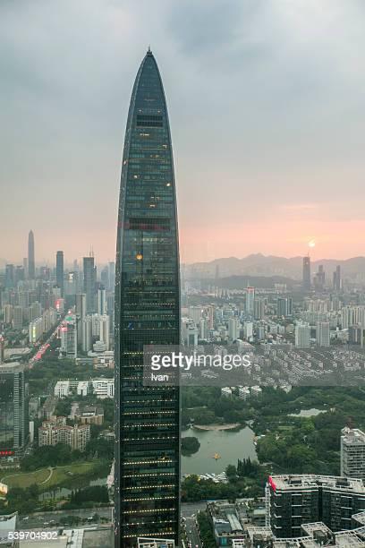 High Angle View of Cityscape Shenzhen at Sunset , China