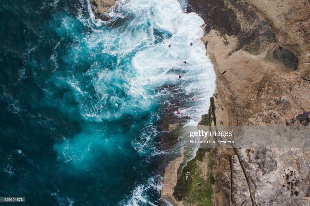 High Angle View Of Cliff By Sea : Stock Photo