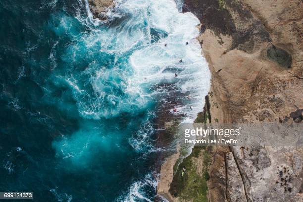High Angle View Of Cliff By Sea