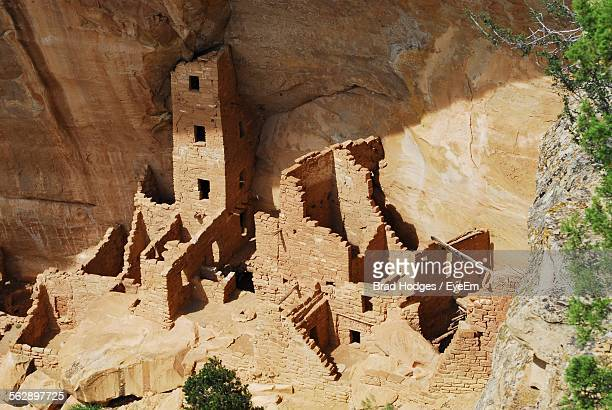 high angle view of cliff dwelling at mesa verde national park - mesa verde national park stock pictures, royalty-free photos & images