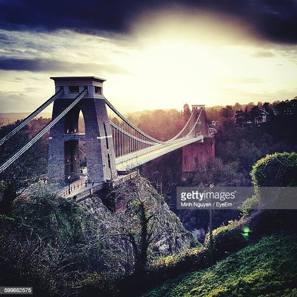 High Angle View Of Clifton Suspension Bridge Against Sky During Sunset