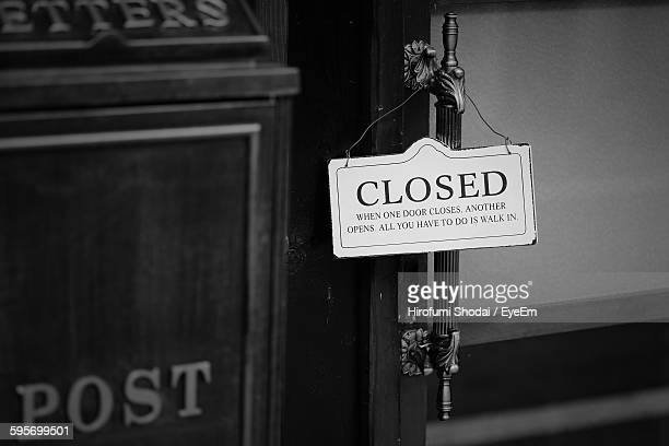 High Angle View Of Closed Sign On Door
