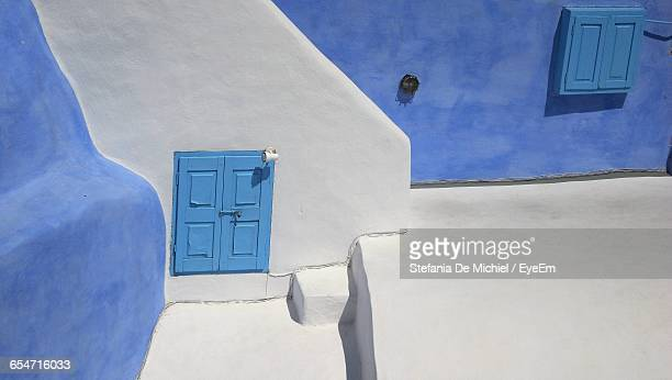 High Angle View Of Closed Windows Of House At Santorini