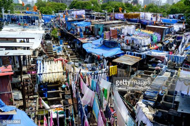 High Angle View Of Clothes Drying At Dhobi Ghat