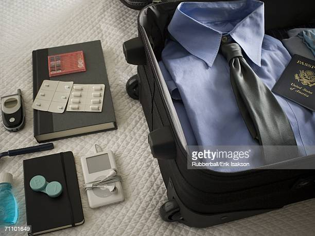 High angle view of clothing in a suitcase