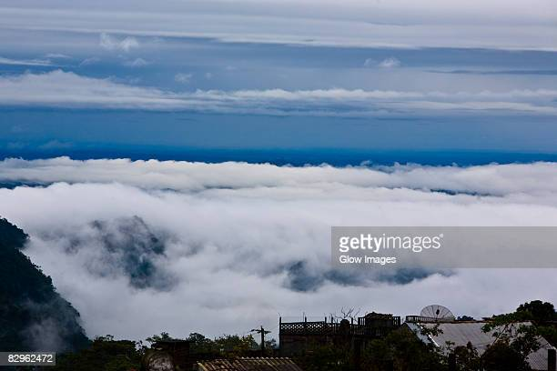 high angle view of clouds on a hill, cuetzalan, puebla state, mexico - puebla mexico stock pictures, royalty-free photos & images