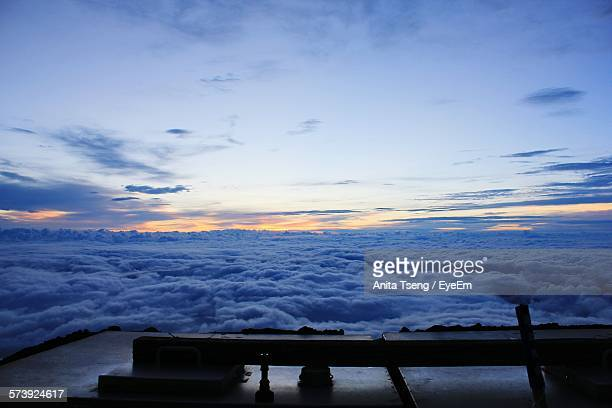 High Angle View Of Cloudscape Over Mount Fuji Against Sky During Sunrise