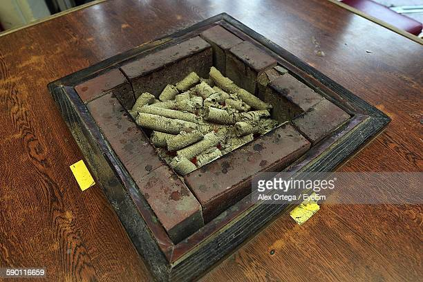 High Angle View Of Coal At Fireplace