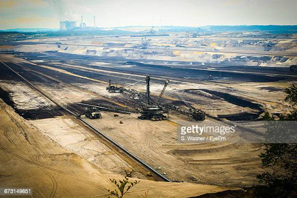 High Angle View Of Coal Mining Machinery At Open-Pit