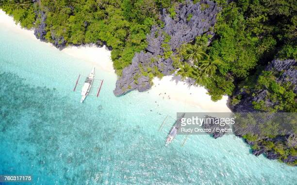 high angle view of coast - el nido stock pictures, royalty-free photos & images