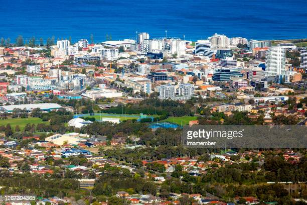 high angle view of coastal town, background with copy space - wollongong stock pictures, royalty-free photos & images