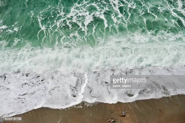 high angle view of coastline and waves - 2018 stock pictures, royalty-free photos & images