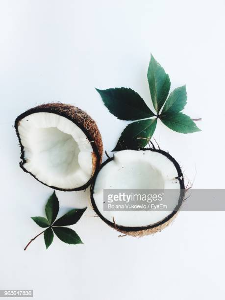 High Angle View Of Coconut Against White Background