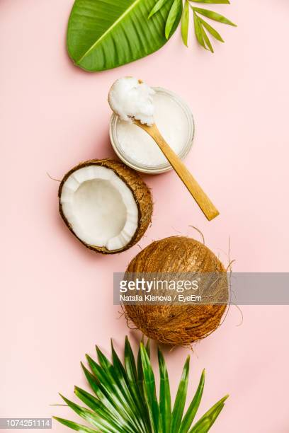 high angle view of coconut with leaves on pink background - coconut stock pictures, royalty-free photos & images
