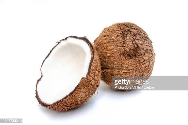 high angle view of coconuts on white background - coconut stock pictures, royalty-free photos & images