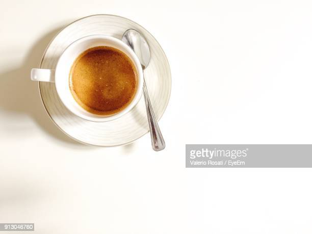 High Angle View Of Coffee Against White Background