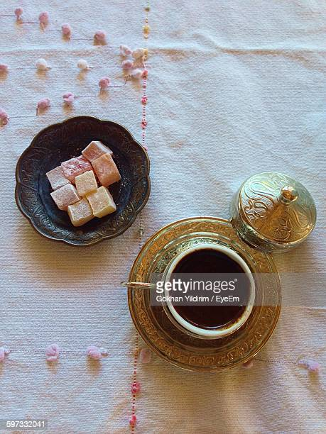 High Angle View Of Coffee And Turkish Delight On Table