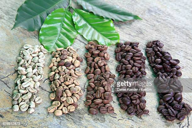 High Angle View Of Coffee Beans And Leaves On Table