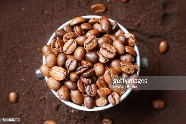 High Angle View Of Coffee Beans In Bowl