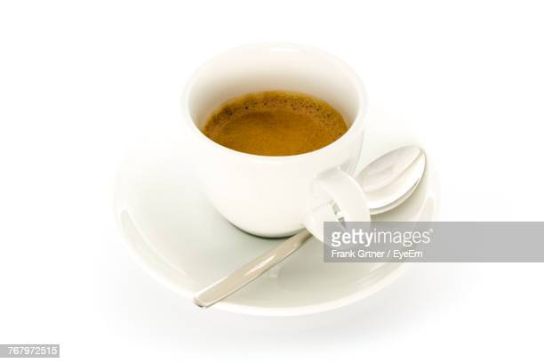 High Angle View Of Coffee Cup On White Background