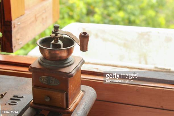 High Angle View Of Coffee Maker On Table