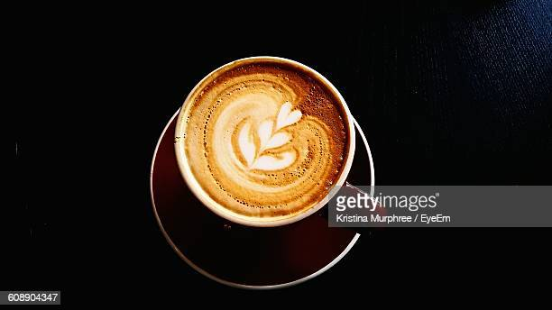 High Angle View Of Coffee On Black Table