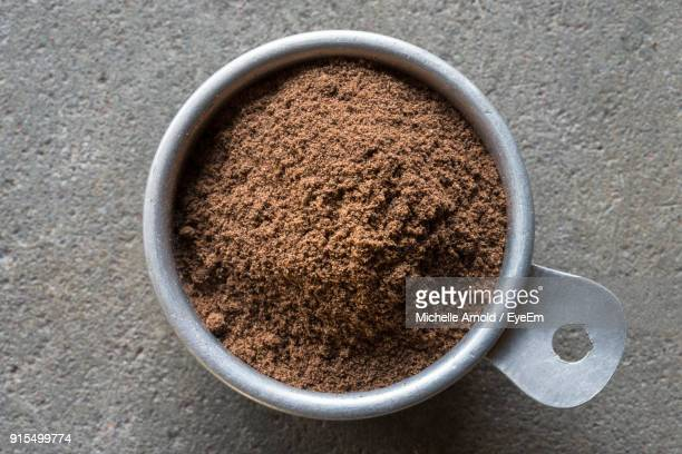 High Angle View Of Coffee Powder In Bowl