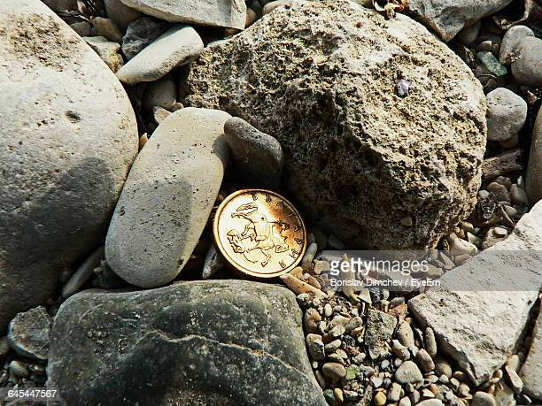 High Angle View Of Coin Amidst Stones