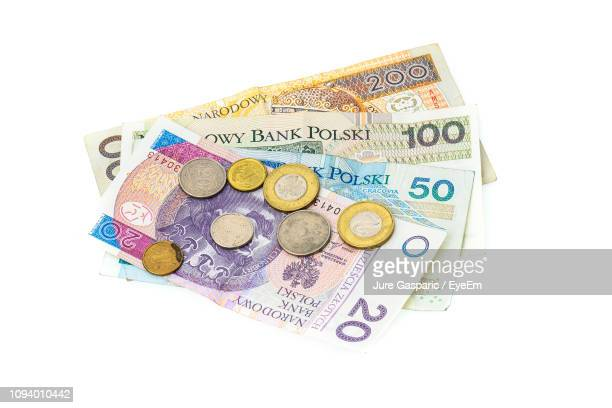 high angle view of coins and paper currencies on white background - polish culture stock pictures, royalty-free photos & images