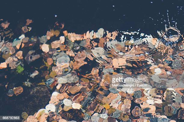 High Angle View Of Coins In Fountain