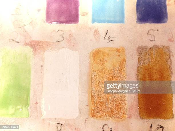 High Angle View Of Color Palette