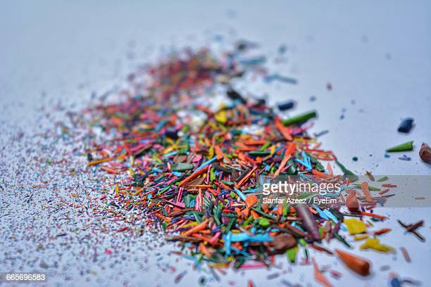 High Angle View Of Color Pencils Shavings