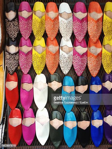 High Angle View Of Colorful Babouches For Sale In Store