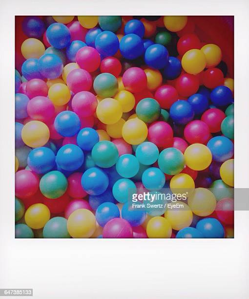high angle view of colorful balls - frank swertz stock-fotos und bilder