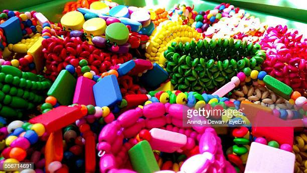 High Angle View Of Colorful Bracelets At Market Stall For Sale