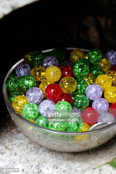 High Angle View Of Colorful Candies In Bowl