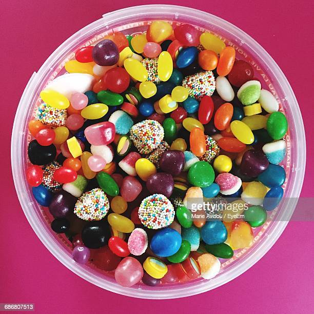 High Angle View Of Colorful Candies In Container