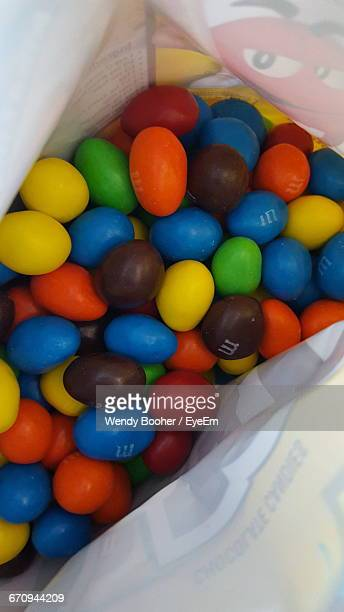 High Angle View Of Colorful Easter Eggs In Plastic Bag