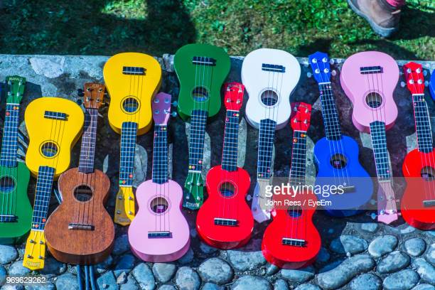 High Angle View Of Colorful Guitars
