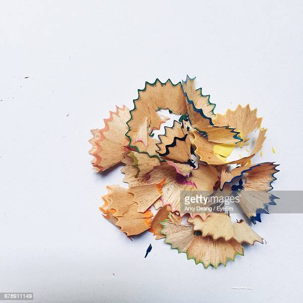 High Angle View Of Colorful Pencil Shavings On White Background