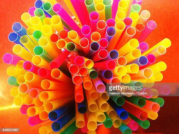 High Angle View Of Colorful Plastic Drinking Straws