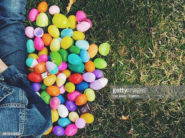 High Angle View Of Colorful Plastic Easter Eggs